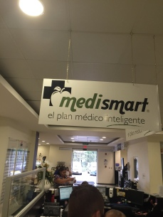 Behind the front desk is the Medismart desk